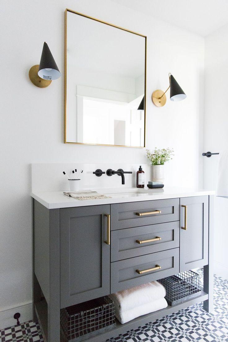 Small guest bathroom with dark custom vanity, gray vanity, modern ...