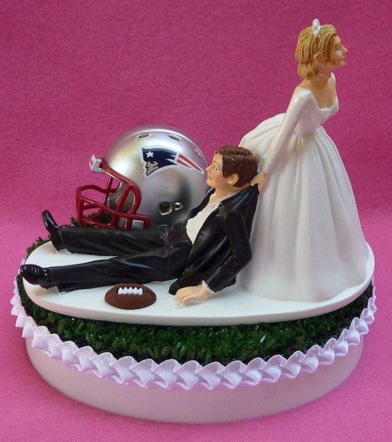 Wedding Cake Topper New England Patriots Pats Football Themed Sports Turf W Garter