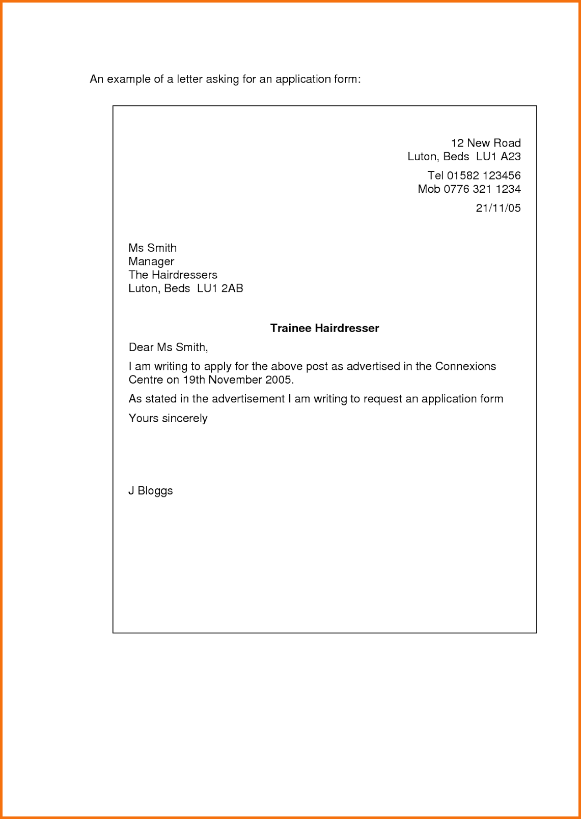 short application cover letter example
