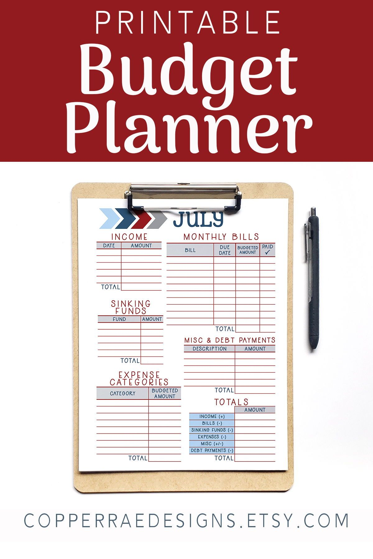 Printable Financial Planner Monthly Budget Worksheet
