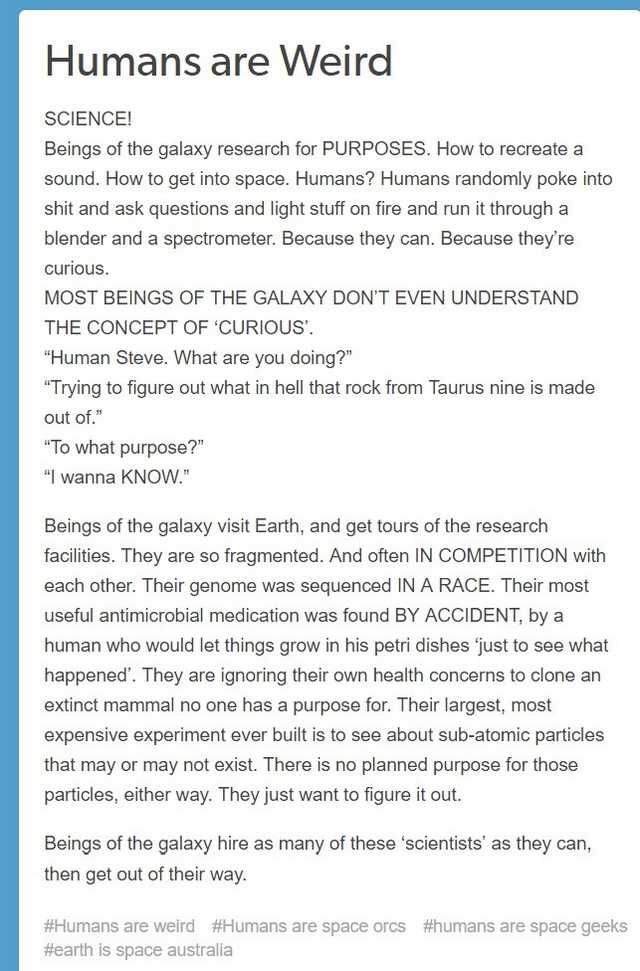Humans are weird space orcs from a deathworld, the mega post