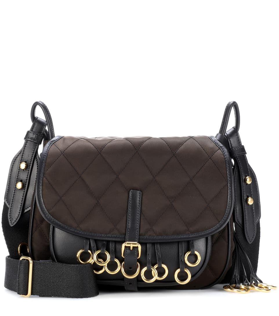 1c77c5be6c02 PRADA   Leather-Trimmed Quilted Shoulder Bag - Marrone+Nero   $ 1,295,
