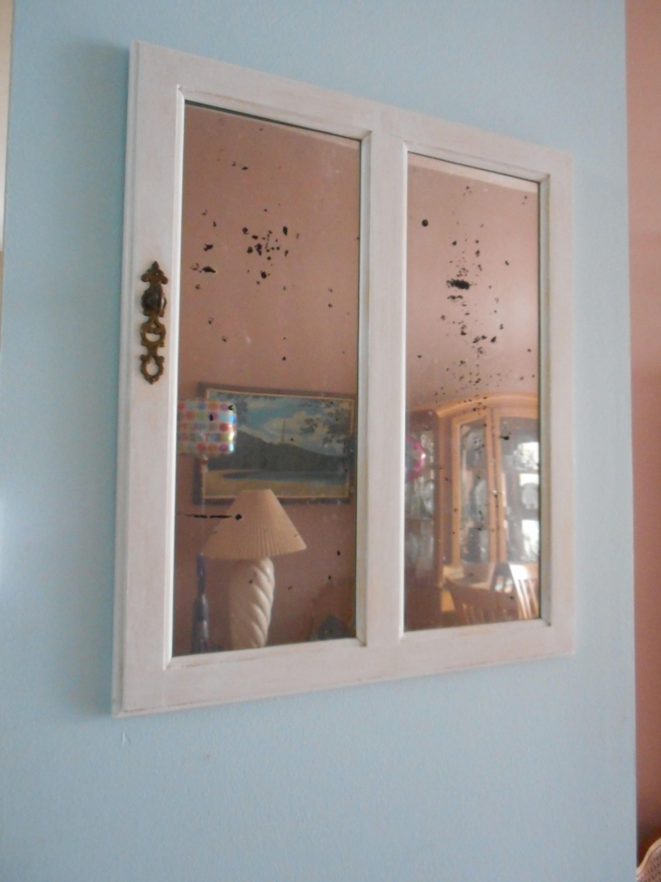 Antique 1960 s Vintage Aged Chippy Mirrored Glass Curio Cabinet Wood