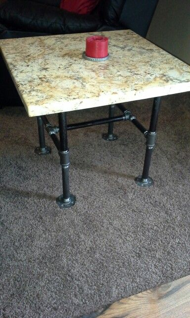 Finished Two Of These End Tables With Black Iron Pipe Legs And Granite Tops