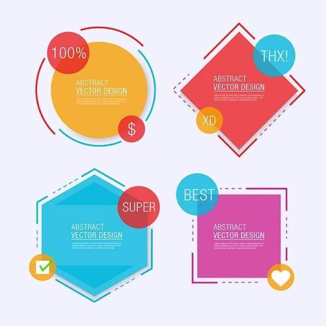 Four Geometrical Label Templates