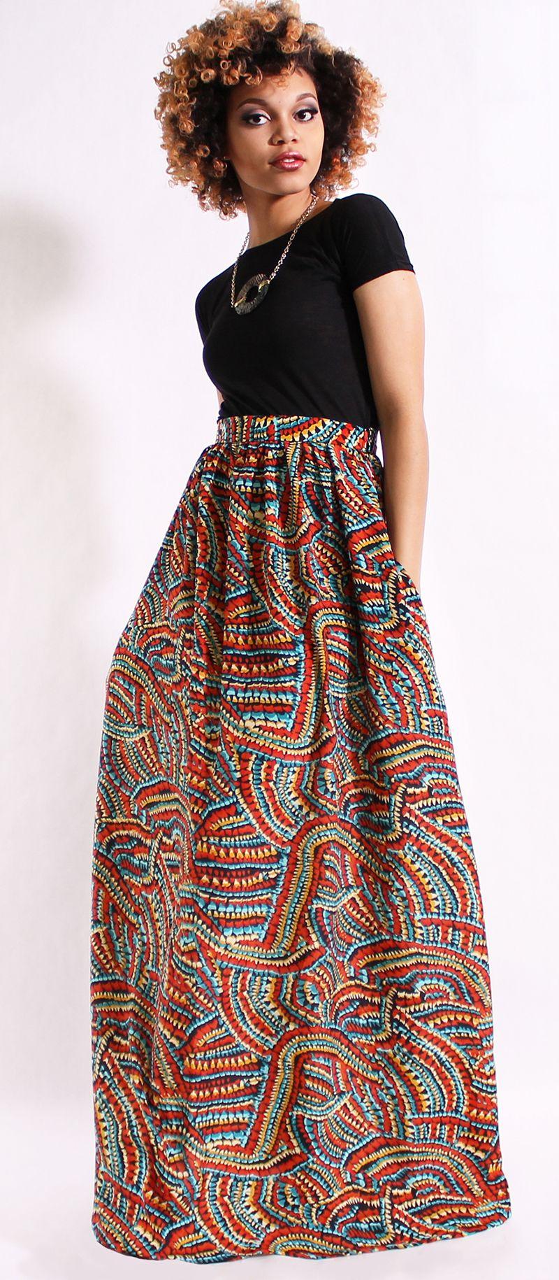 DIMILOC- Printed Maxi Skirt w/ Pockets #modest #maxiskirts #skirts #modestfashion