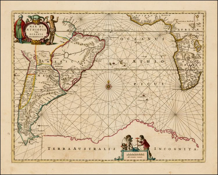 Mar di aethiopia vulgo oceanus aethiopicus 1650 aethiopian sea ancient map poster map of the world atlas prints by mapsandposters gumiabroncs Choice Image