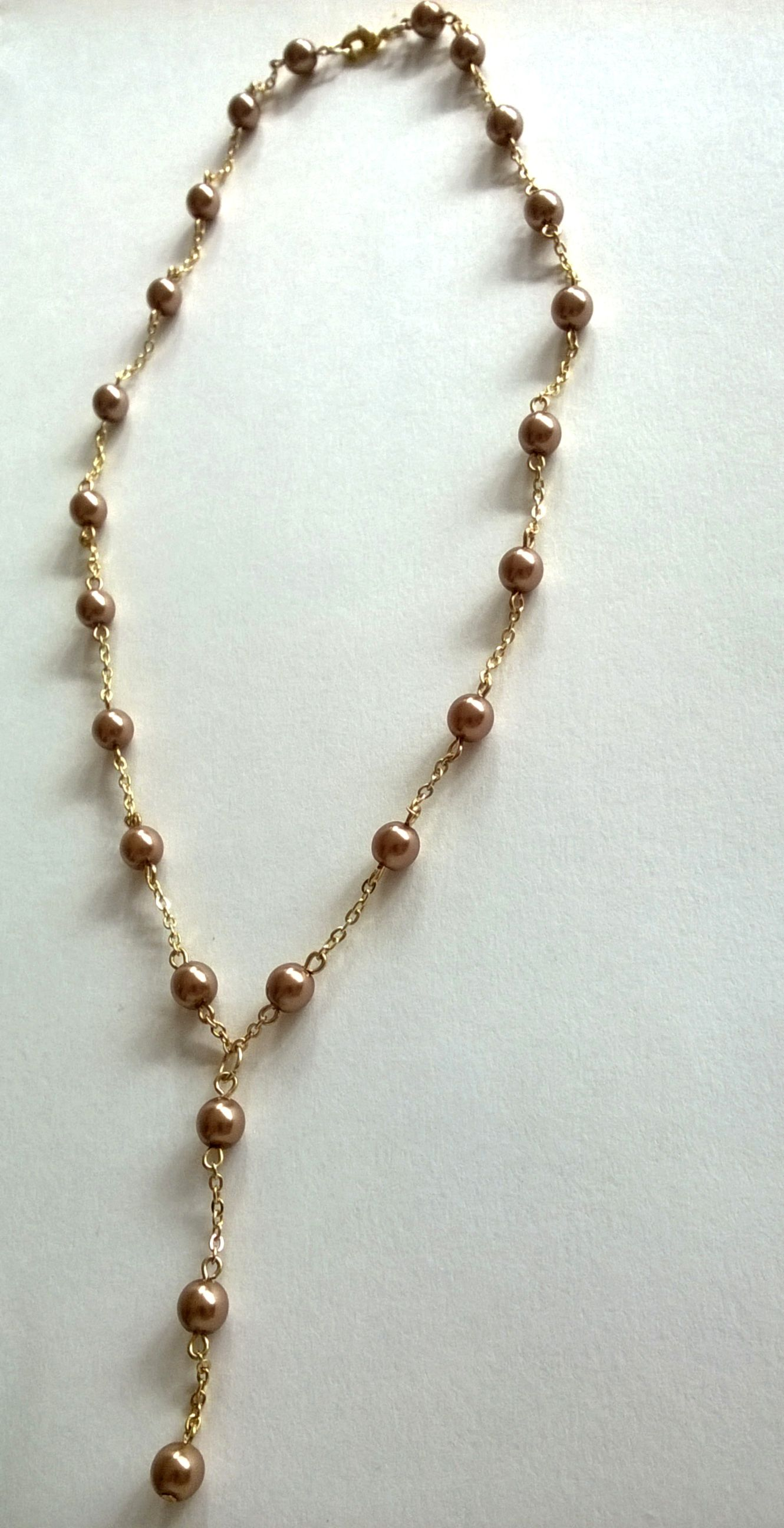 Metallic Chestnut Drop Pendant Necklace