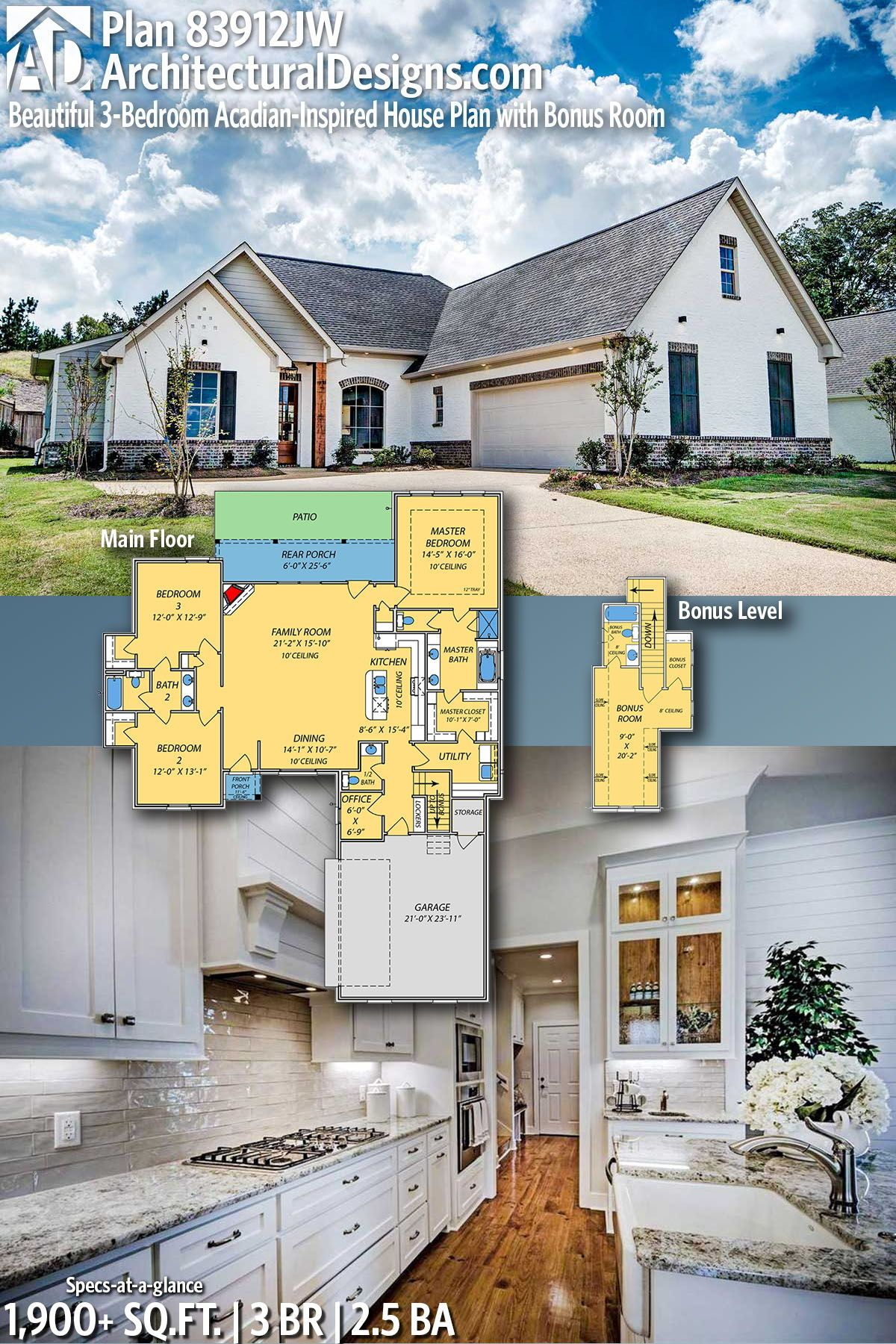 Plan 83912jw Beautiful 3 Bedroom Acadian Inspired House Plan With Bonus Room Acadian House Plans Craftsman House Plans Ranch House Plans