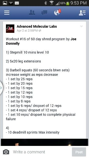 60 day shred- workout 16 | Joe Donnelly Workouts | Pinterest ...