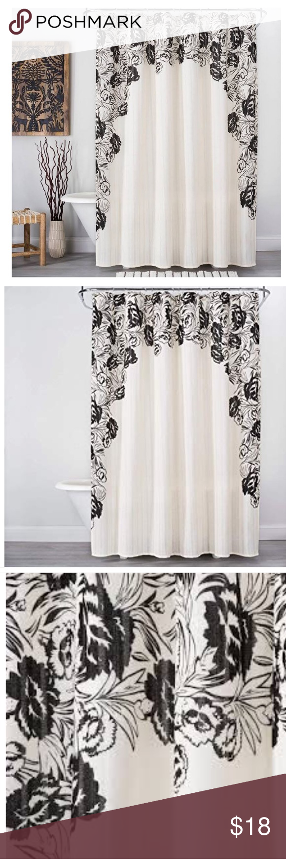 Classy Floral Shower Curtain Nwot Off White And Black Opalhouse