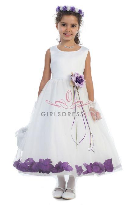White/Eggplant Sleeveless Satin Flower Petal Flower Girl Dress KD-160B-EG on www.GirlsDressLine.Com