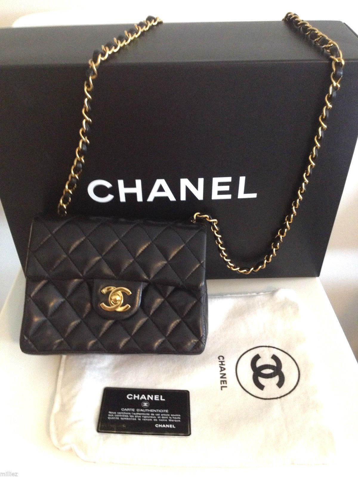 Chanel Mini Flap Bag Classic Leather CC Purse Crossbdy Black Gold Card Dust Mint | eBay