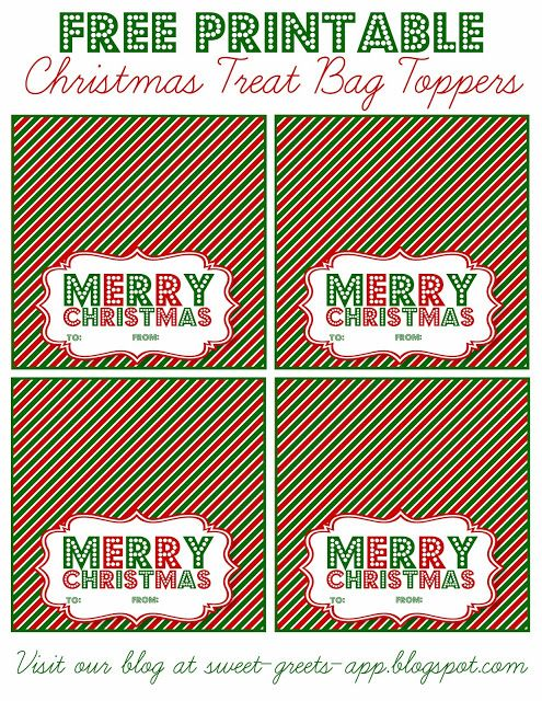 image relating to Christmas Bag Toppers Free Printable titled No cost Printable Xmas Deal with Bag Toppers Printables