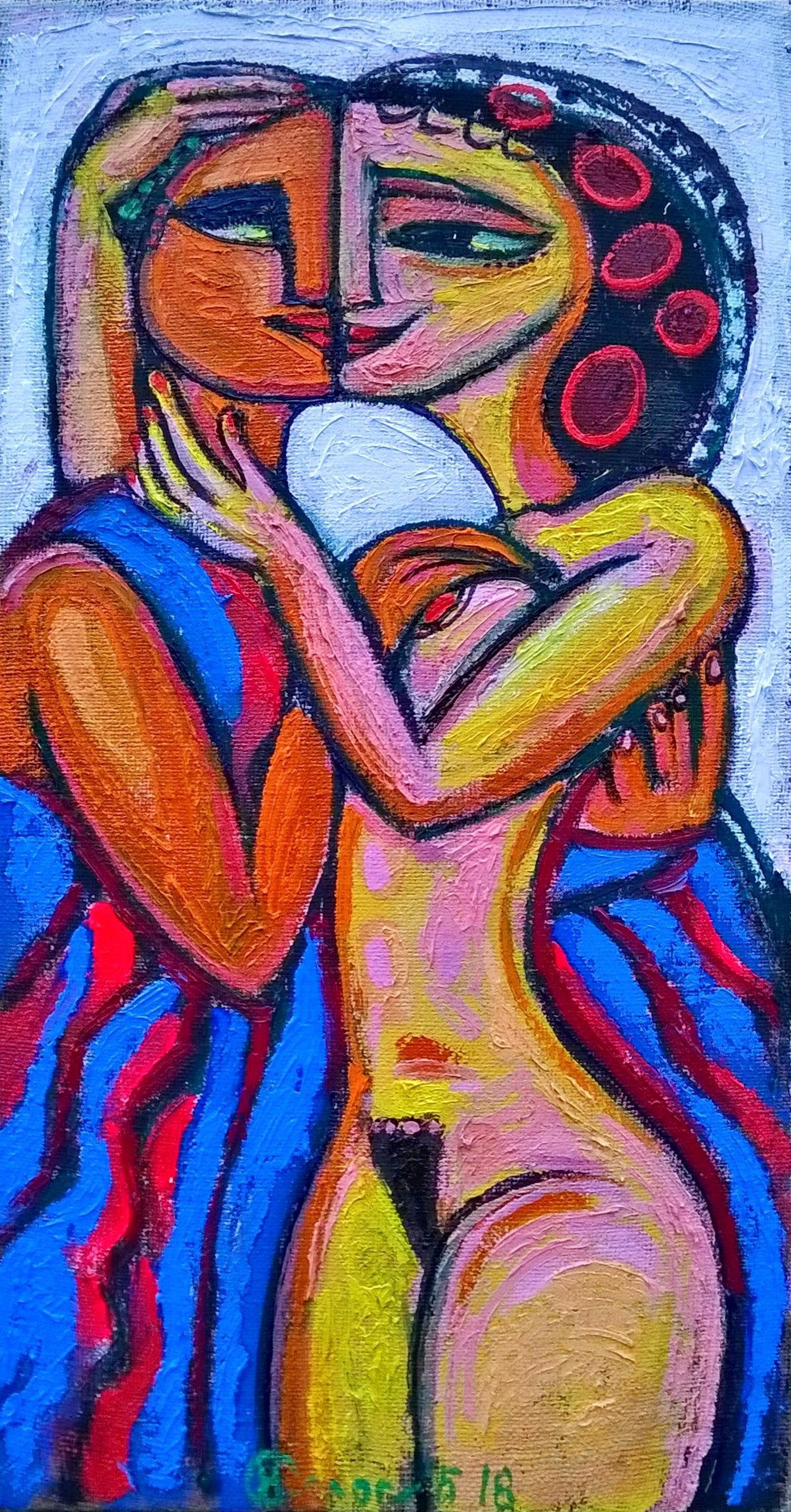 Superbe Sensual Art Couple Oil Painting Canvas Love Oil Painting ORIGINAL Bright  Oil Artwork Gift For Wedding