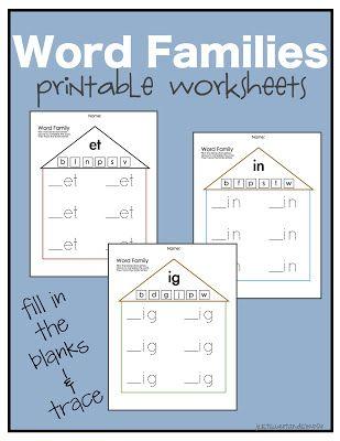 Preschool Practice: Word Family Worksheets Plus: 38 short vowel ...
