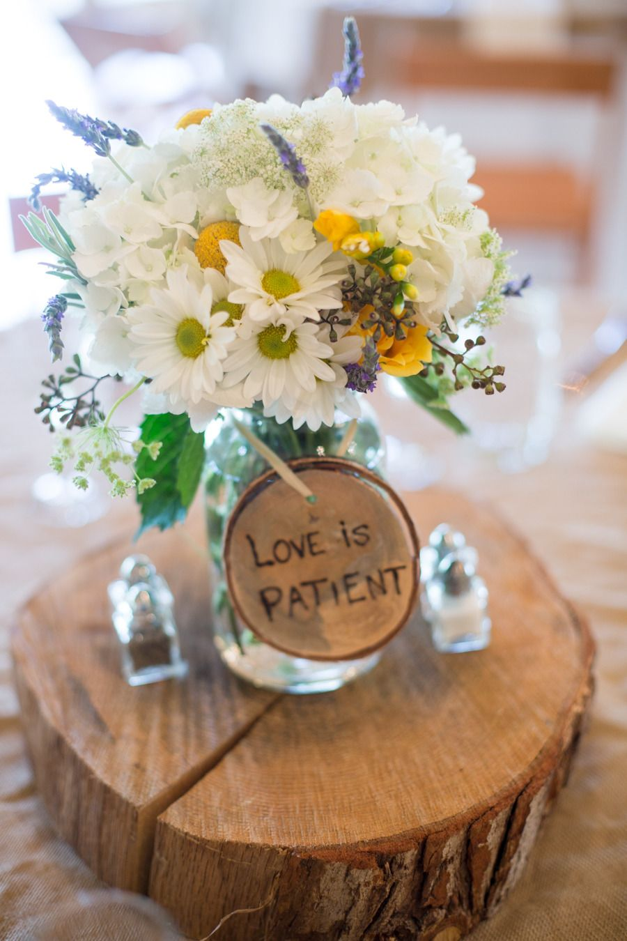 Intimate Rustic North Carolina Wedding At The Farm A Gathering Place Cheap Wedding Centerpieces Wood Slab Centerpiece Rustic Wedding Centerpieces