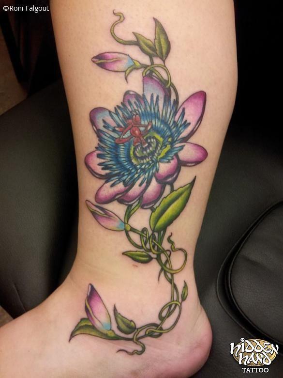 Passion Flower Hidden Hand Tattoo Seattle Wa Hand Tattoos Flower Tattoo Flower Tattoo Meanings