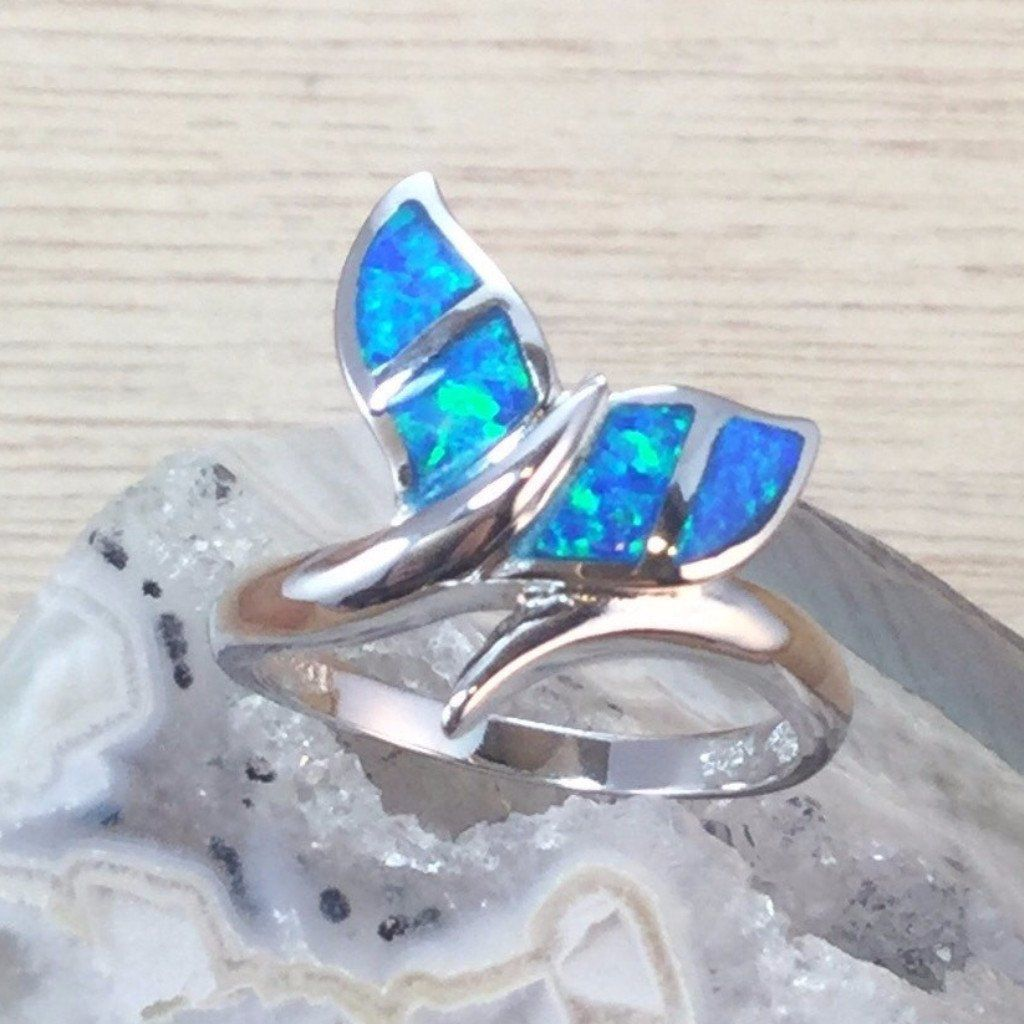 Oxford Diamond Co Lab Created Blue Opal Whale Tail .925 Sterling Silver Ring Sizes 5-10