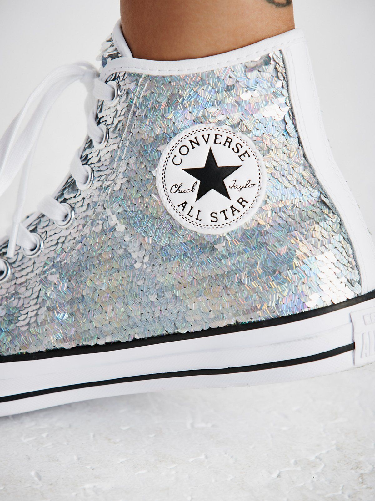 Paradise Party Hi Top Chucks Sequin Converse Prom Shoes Silver Outfits