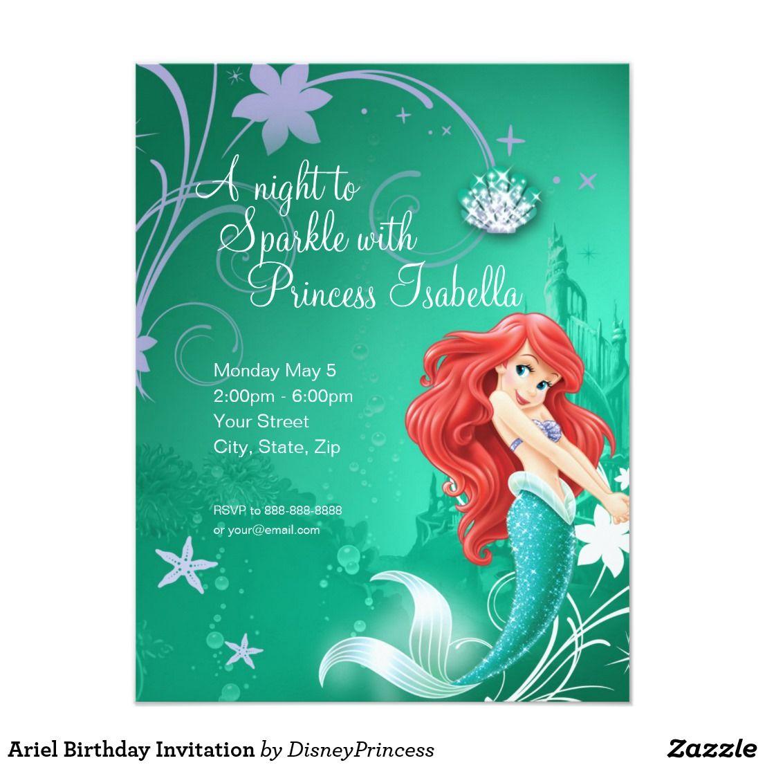 Ariel birthday invitation birthdays ariel birthday invitation filmwisefo