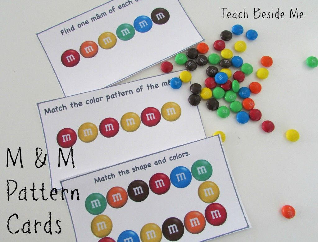 M & M Math Pattern Cards - Teach Beside Me: play with M & M's making patterns, adding and subtracting by eating them! Give your kids a handful of M & M's and read it with them- they will just love it!