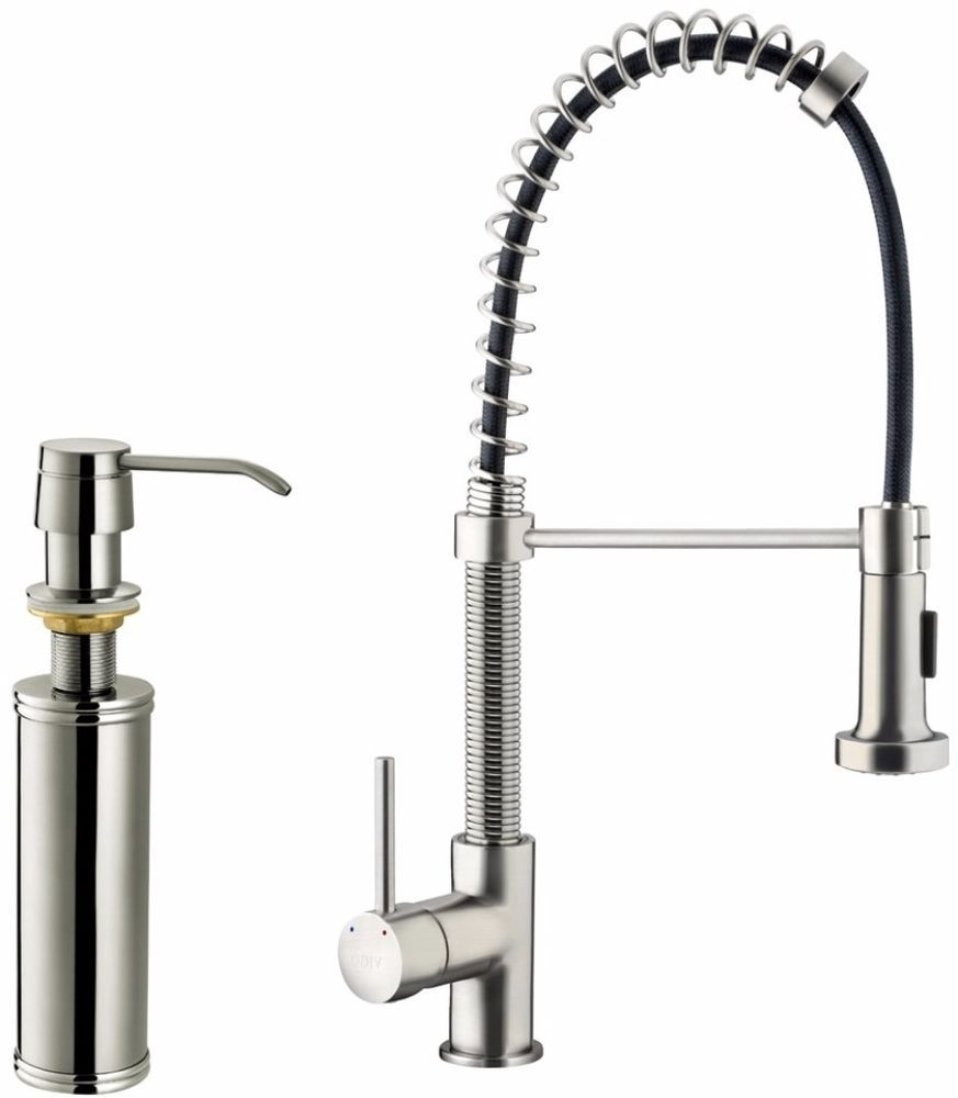VIGO Stainless-Steel Pull-Out Spray Kitchen Faucet With Soap Dispenser