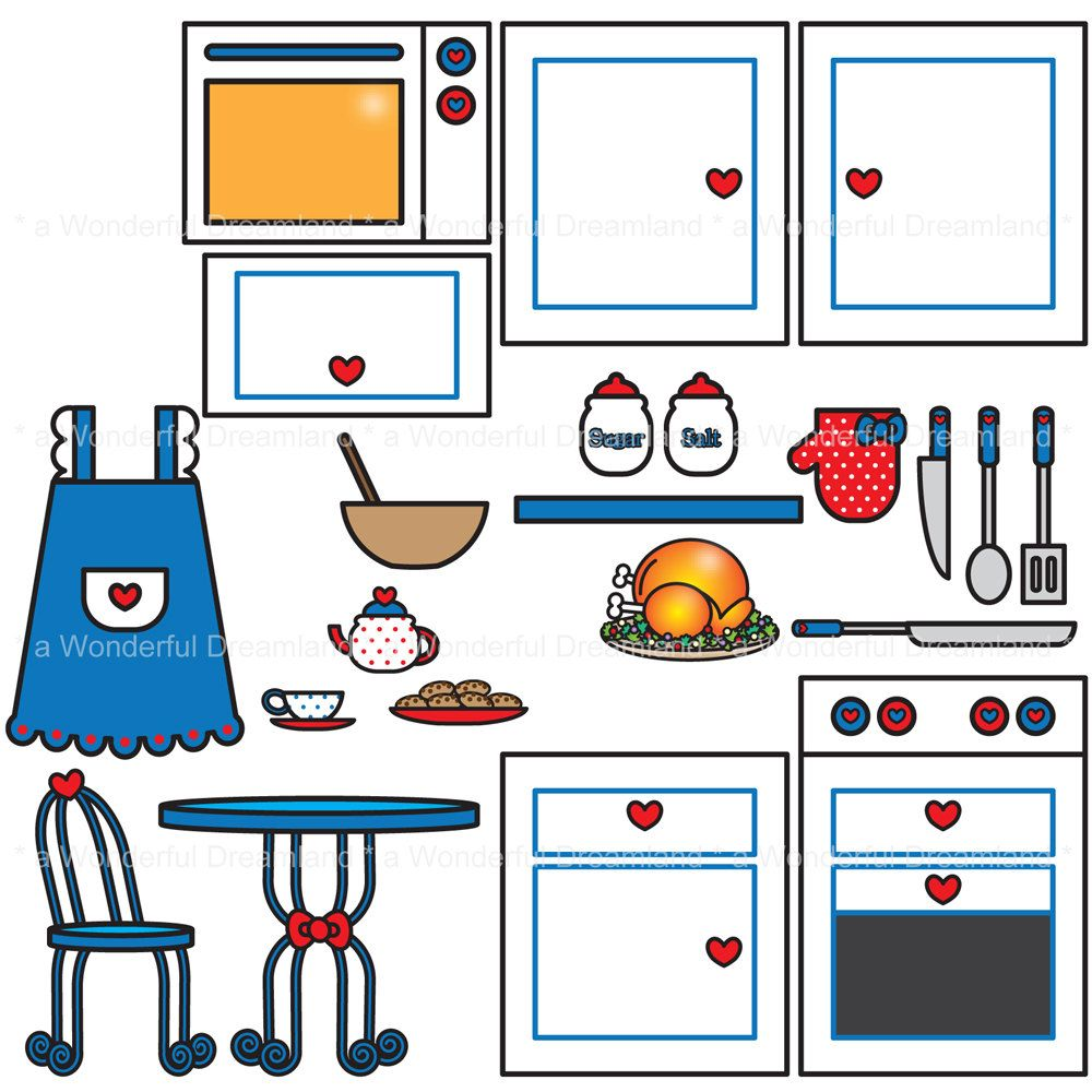 Kitchen Clipart Svg Eps Png Vector Instant Download Printable Etsy In 2021 Clip Art Embroidery Kits Etsy Printables