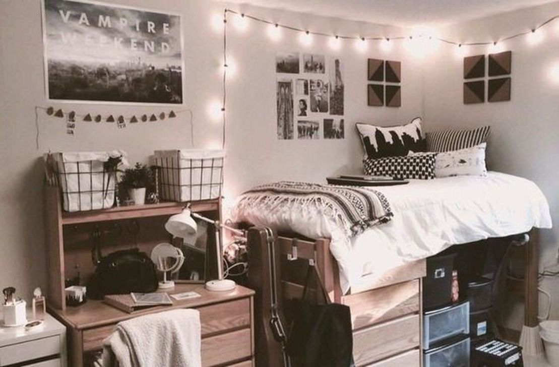 Loft bed organization ideas   Efficient Dorm Room Organization Ideas  c o l l e g e