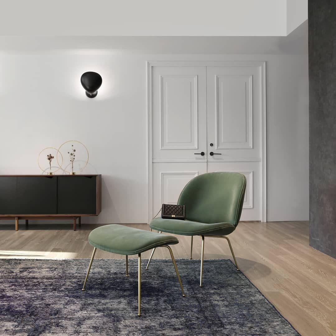 Gubi Beetle Lounge Chair And Stool Cobra Wall Lamp By Greta M Grossman Rugs In Living Room Gubi Beetle Lounge Chair Chairs For Small Spaces
