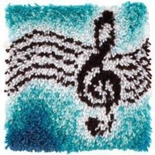 Wonderart Treble Clef Music Latch Hook Rug Kit Kids Craft 12 X Square Made In The Usa