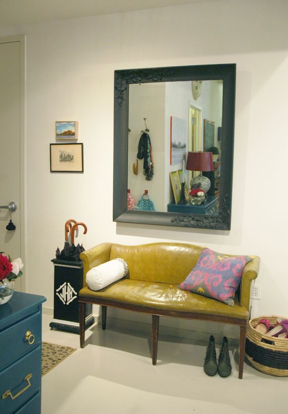 chalkboard frame and olive settee