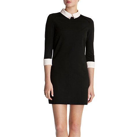 5fc04bb1 Buy Ted Baker Katt Contrast Collar Dress, Black Online at johnlewis.com