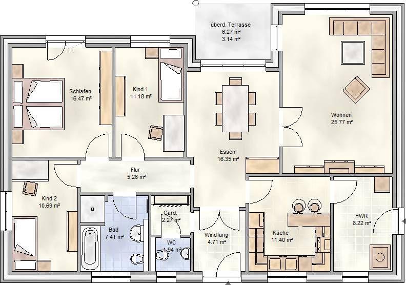 PLAN 125 - Winkelbungalow mit 125 qm Grundriss | Hausgrundriss ...