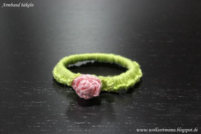 Häkeln : Armband mit Rose - Geschenk für kleine und große ...