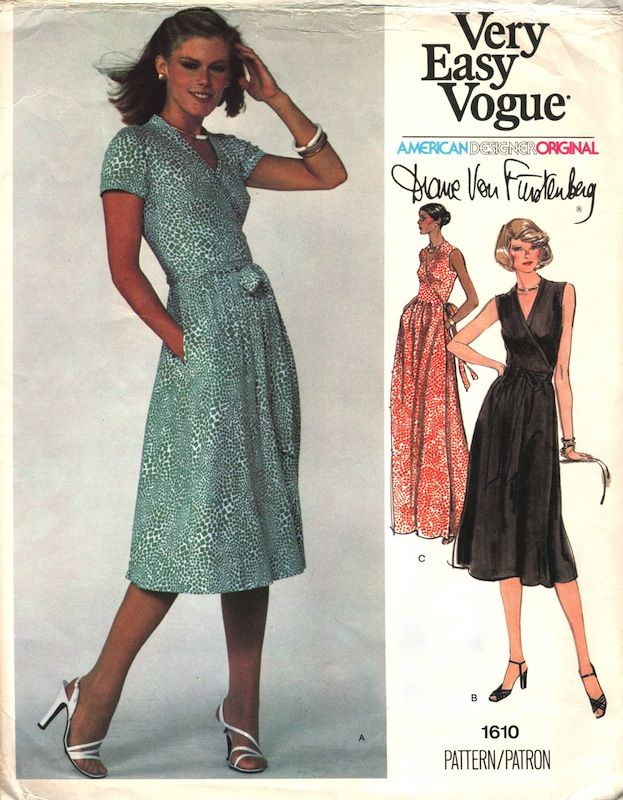 Vogue Patterns For Pees 1970s Diane Von Furstenberg Wrap Dress Pattern 1610