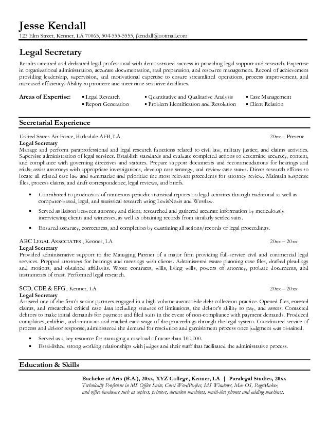 Secretary Resume Legal Resumes  Legal Secretary Resume Sample  Law  Pinterest