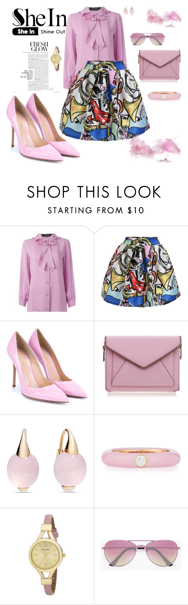"""""""Fresh glow"""" by agnesmakoni ❤ liked on Polyvore featuring Gucci, Gianvito Rossi, Rebecca Minkoff, Pomellato, Adolfo Courrier, Laura Ashley and Boohoo"""