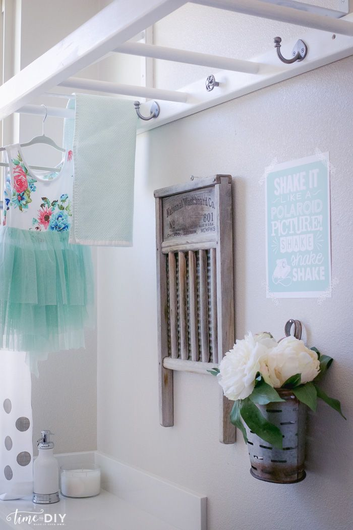 Diy Laundry Room Ladder As Drying Rack Brilliant Via