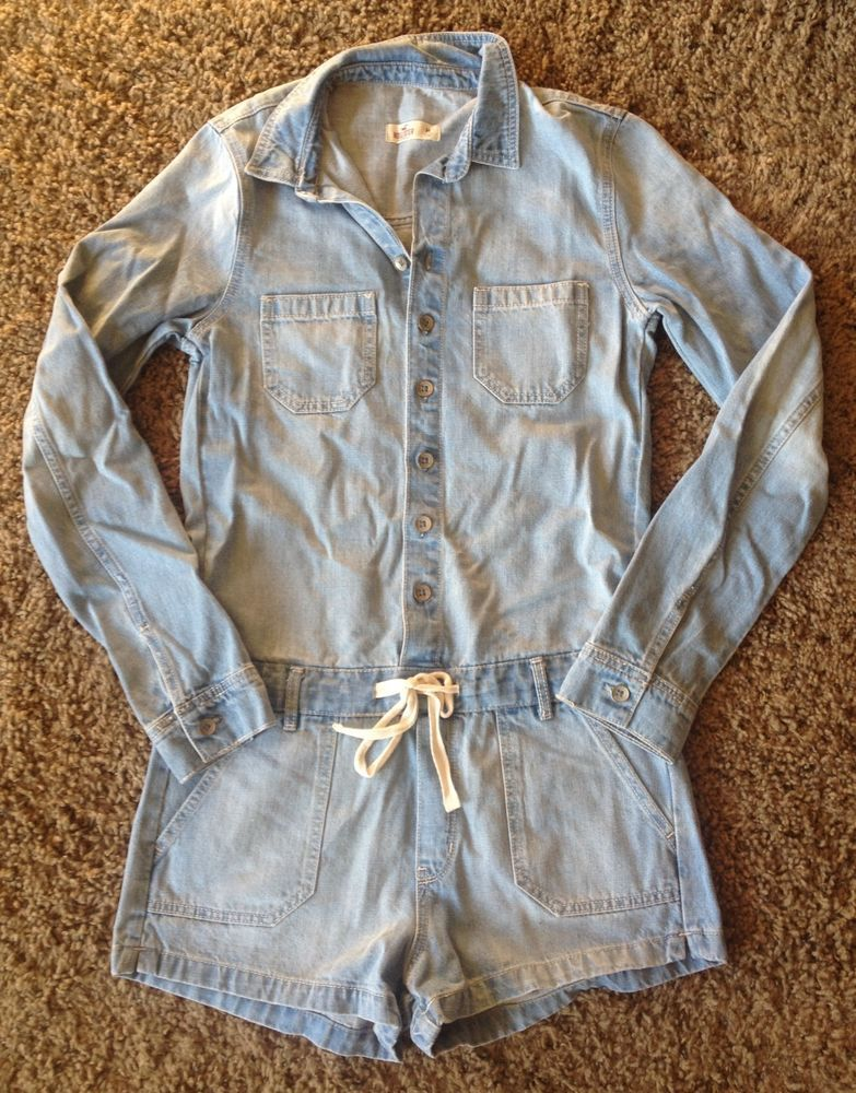 837765fa32b7e Hollister Chambray overalls light wash denim shorts long sleeve jumpsuit  romper #Hollister #Romper