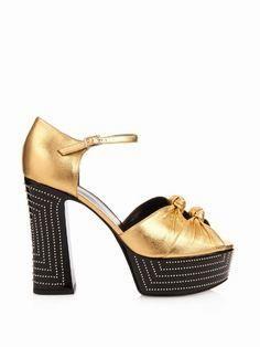 Saint Laurent Double-knot leather platform sandals