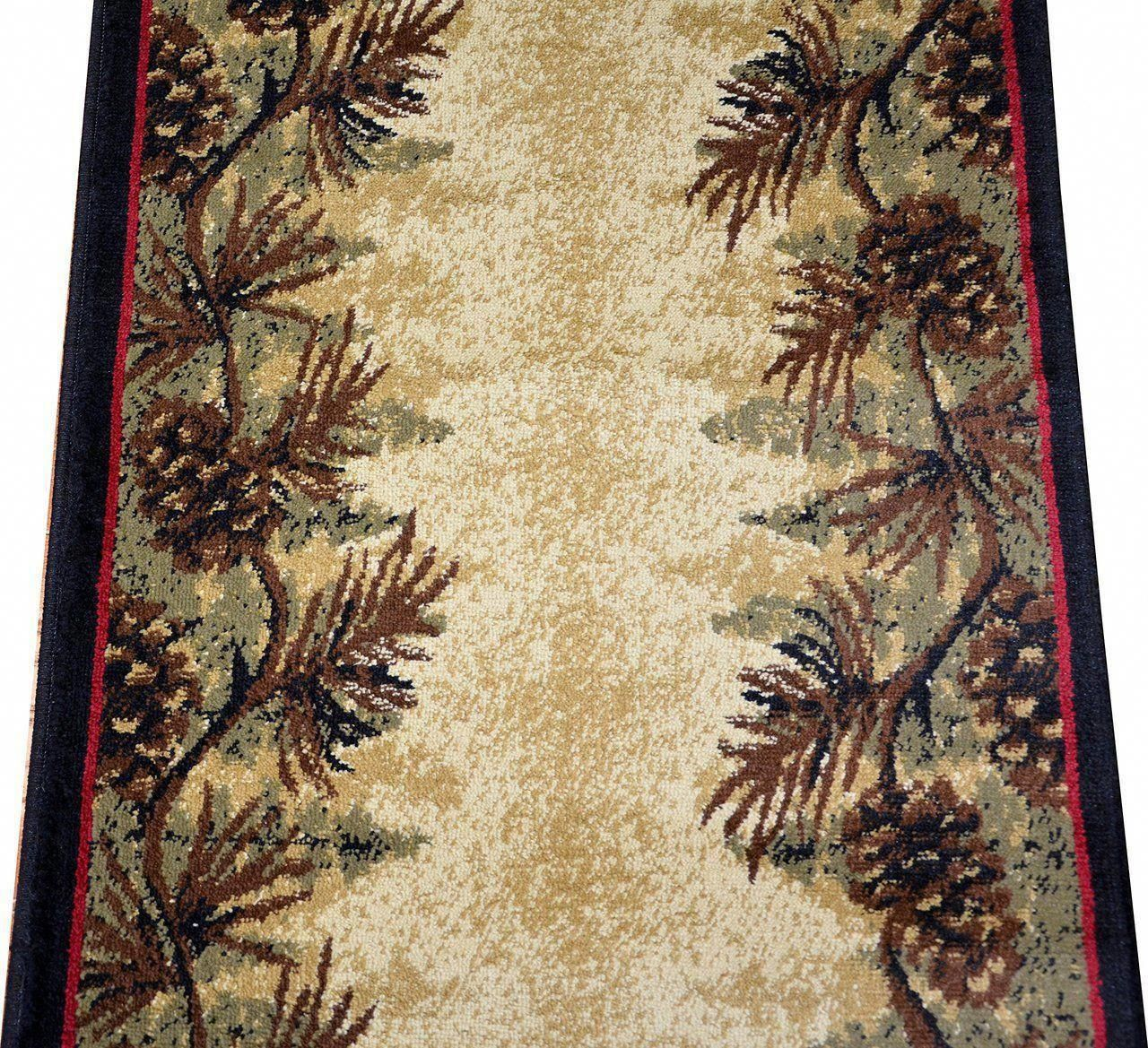 Best Dean Mt Le Conte Pine Cone Lodge Cabin Carpet Runner Rug 640 x 480
