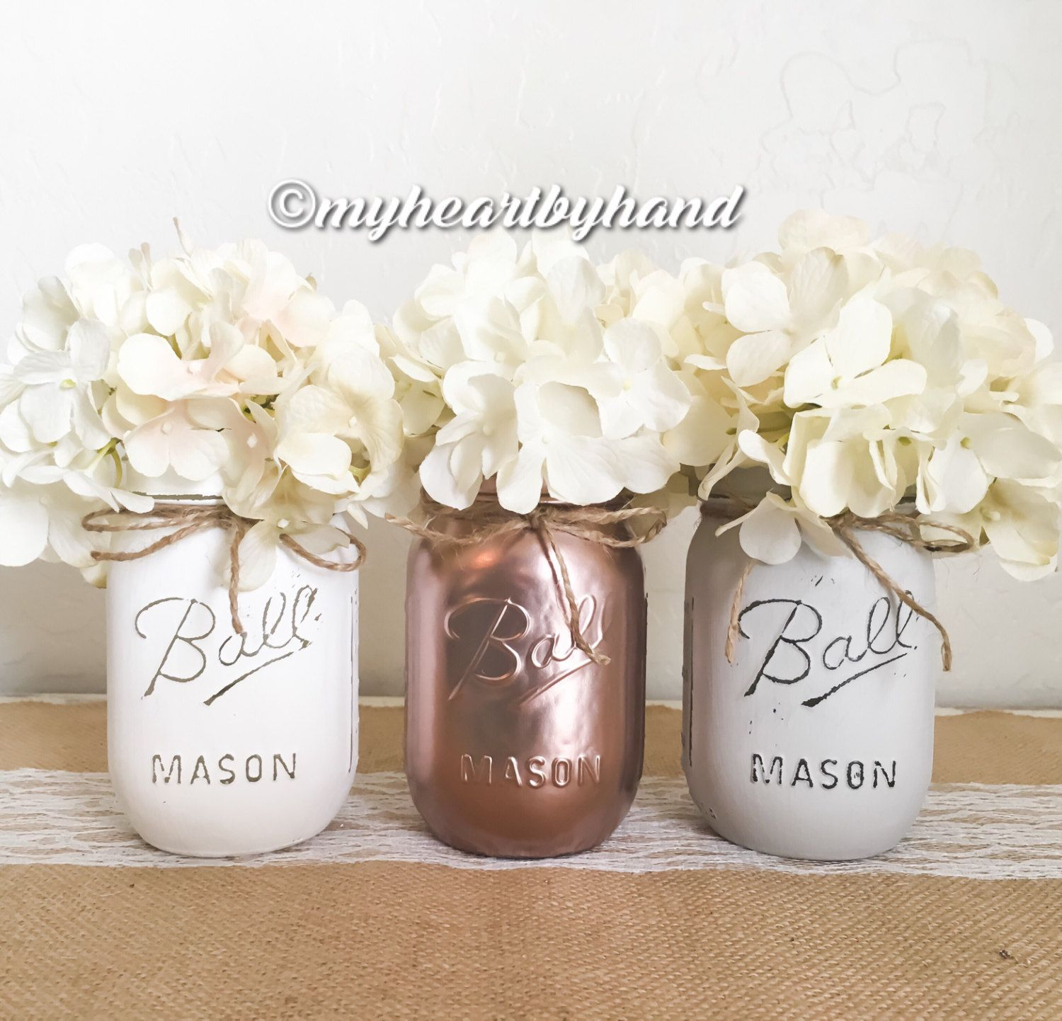 Rose gold white light gray mason jar centerpieces rustic home decor