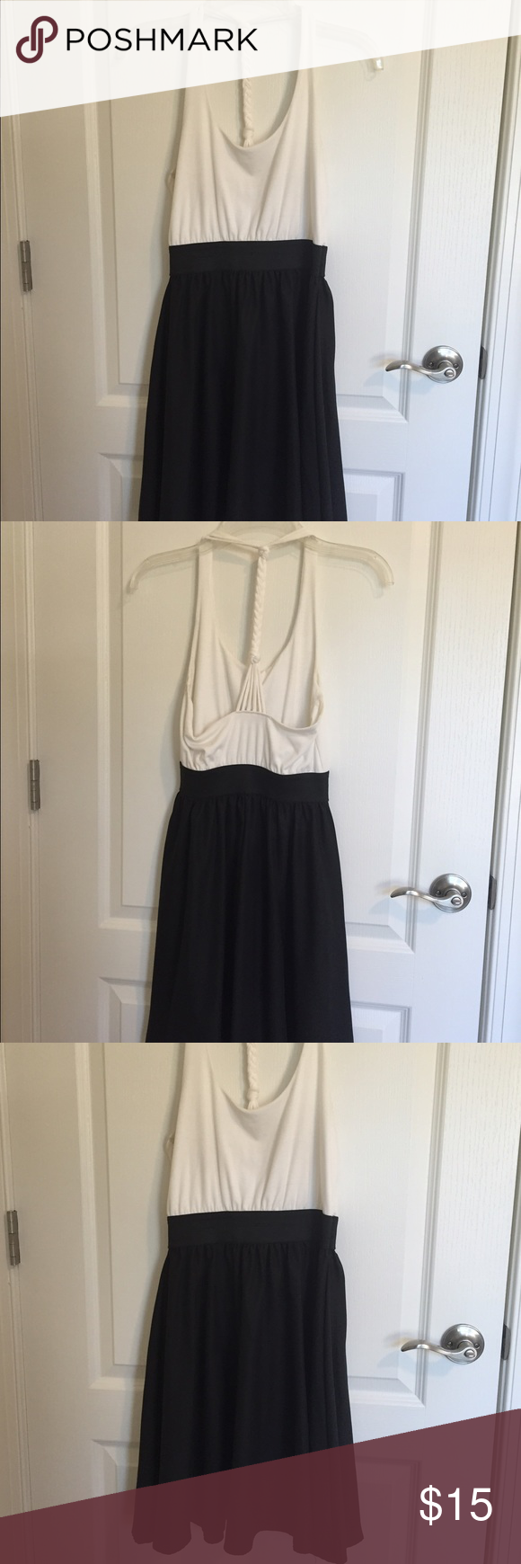 Black white colorblock mixed media racerback dress Adorable dress for summer! Gently used in good condition. Elastic waistband makes it so flattering. Dresses