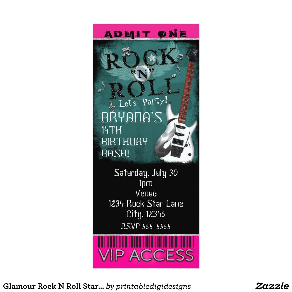 Glamour Rock N Roll Star Birthday Ticket VIP Party Card | Rock Star ...