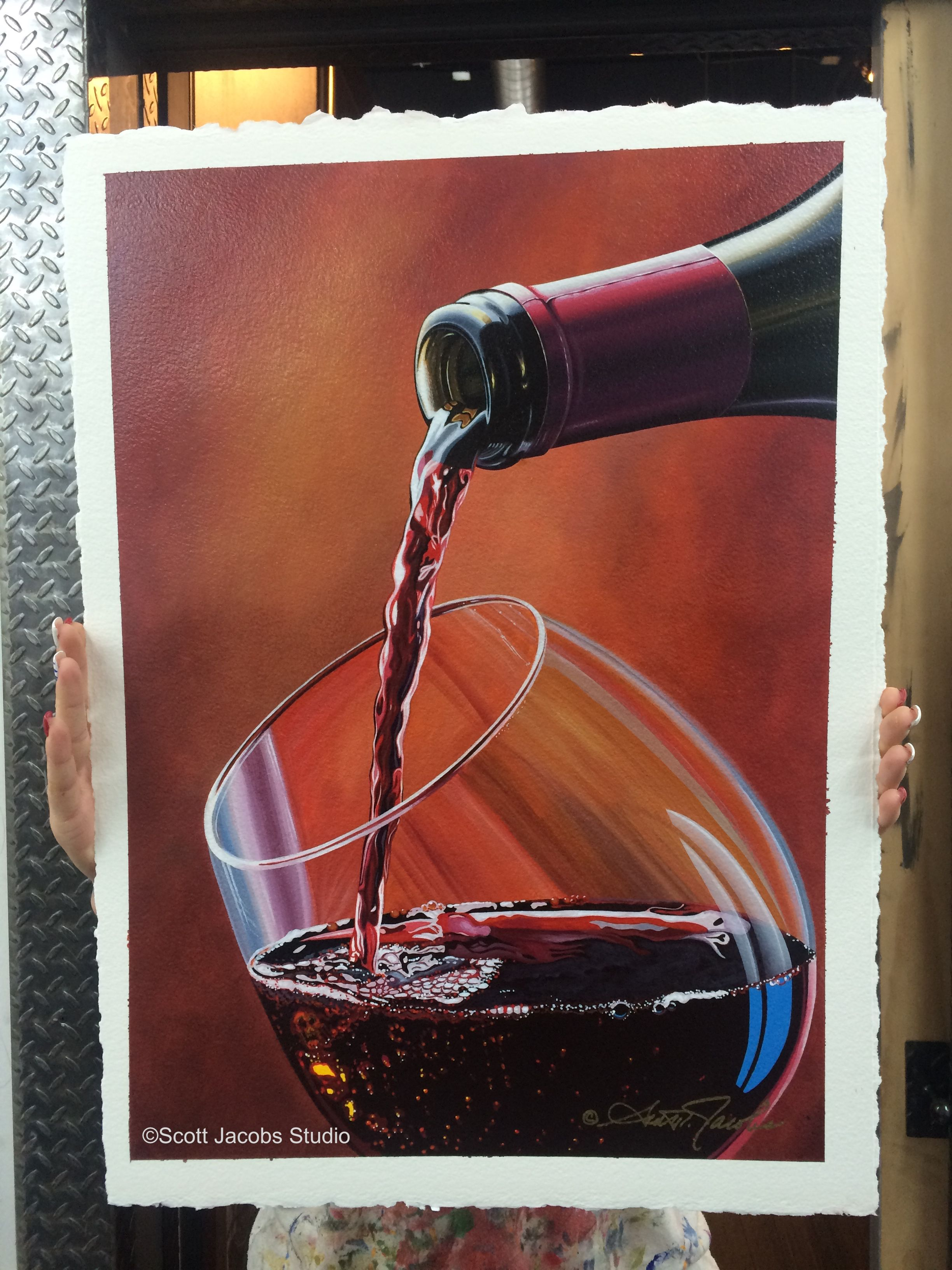 """A Moment in Wine"" 15 x 21 / Acrylic on Arches Paper"