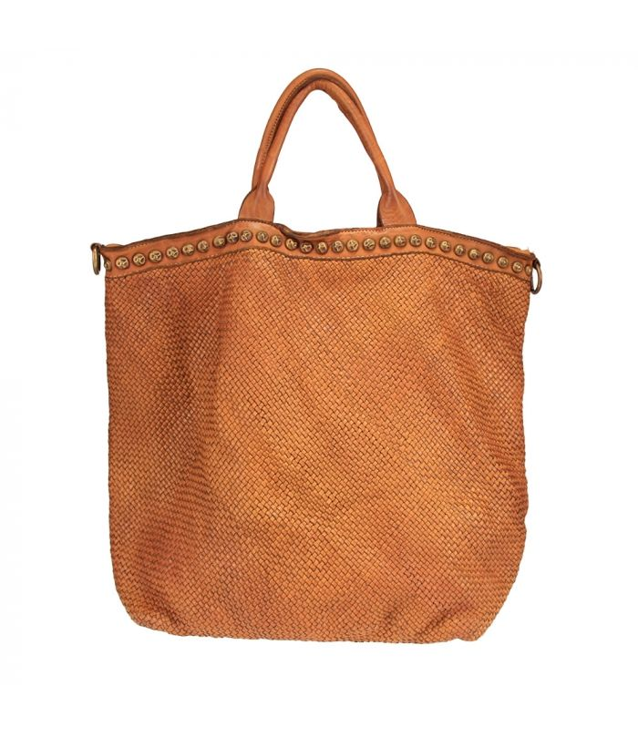Photo of Woman bag in woven leather with studs