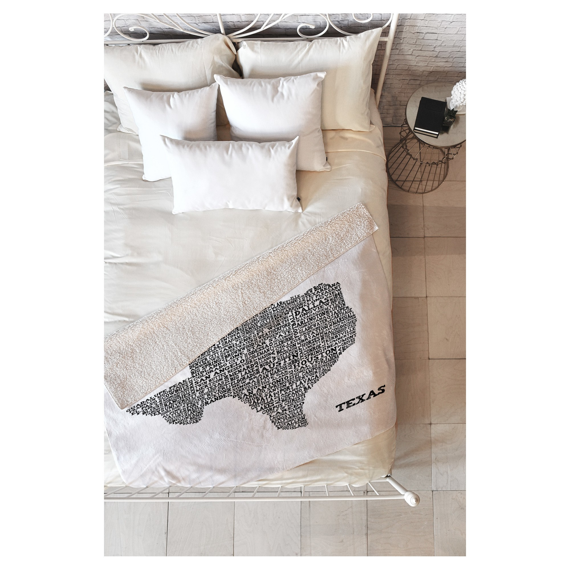 Deny designs black travel restudio designs texas map sherpa throw