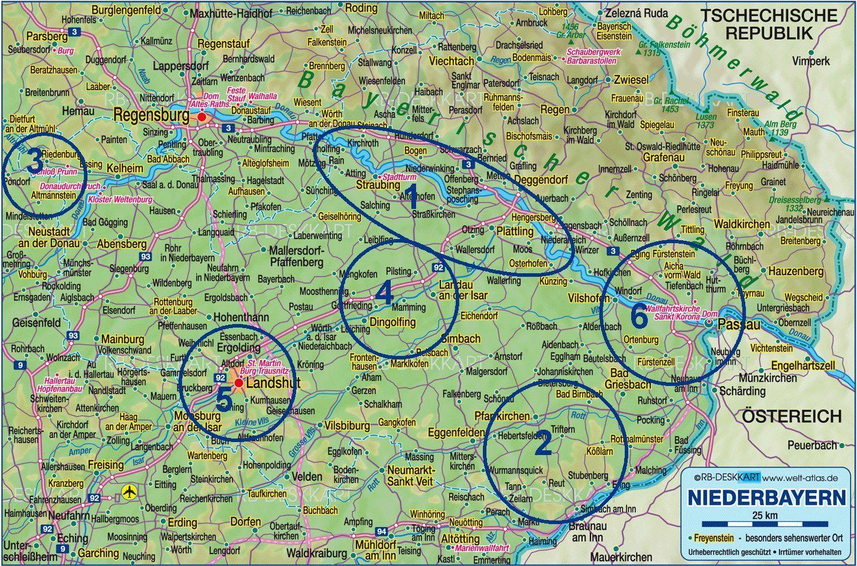 Uitleg 1 Gauboden 2 Rottal Inn 3 Altmuhltal 4 Vilstal 5 Landshut 6 Passau Bodenmais Passau Regensburg