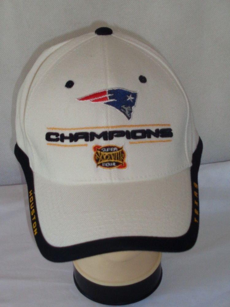 ... New England Patriots Super Bowl XXXVIII Champions hat cap OSFA white  NFL NewEnglandPatriots Custom 2003 ... fb6f519157a
